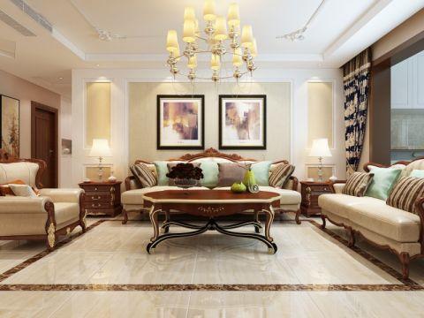 西城济水上苑144平美式风格三居室装修效果图
