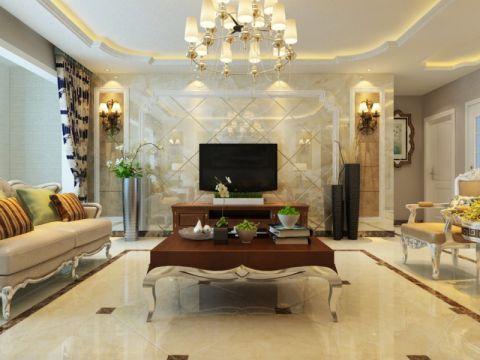 中海国际140平欧式风格三居室装修效果图