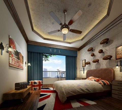 卧室窗台美式风格装饰设计图片
