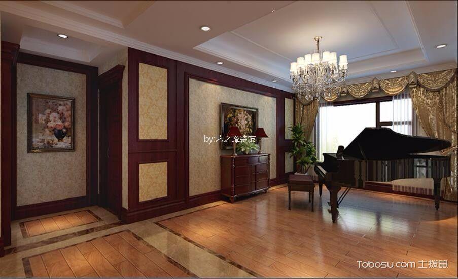 客厅咖啡色地板砖新中式风格装修设计图片
