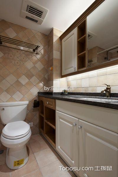 卫生间白色洗漱台美式风格装潢效果图