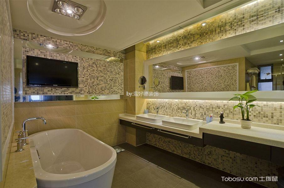 浴室 浴缸_中式风格243平米复式新房装修效果图