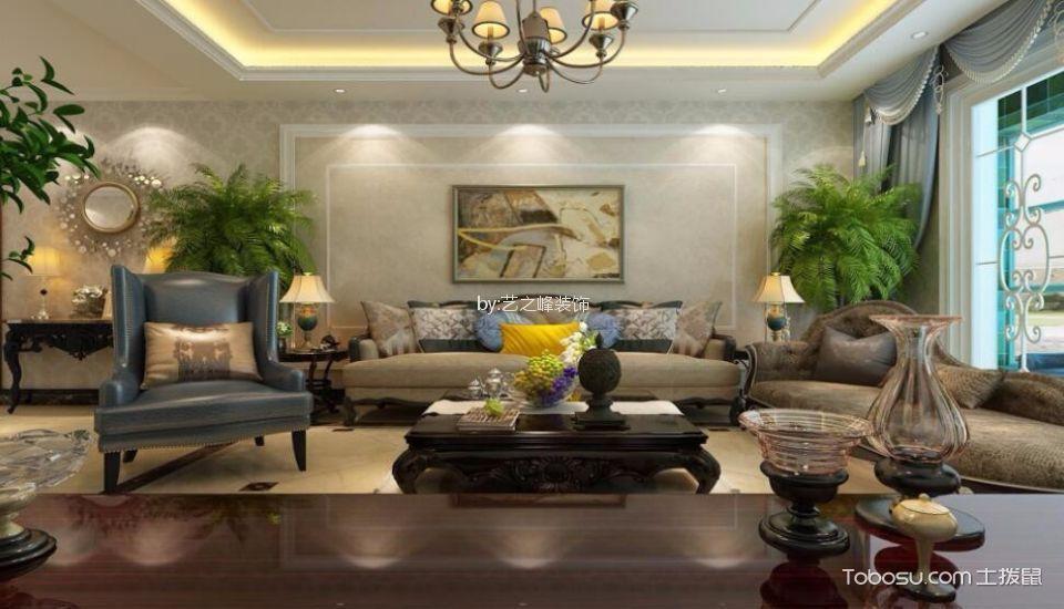 沂龙湾润园小区120平米欧式风格三居室装修效果图