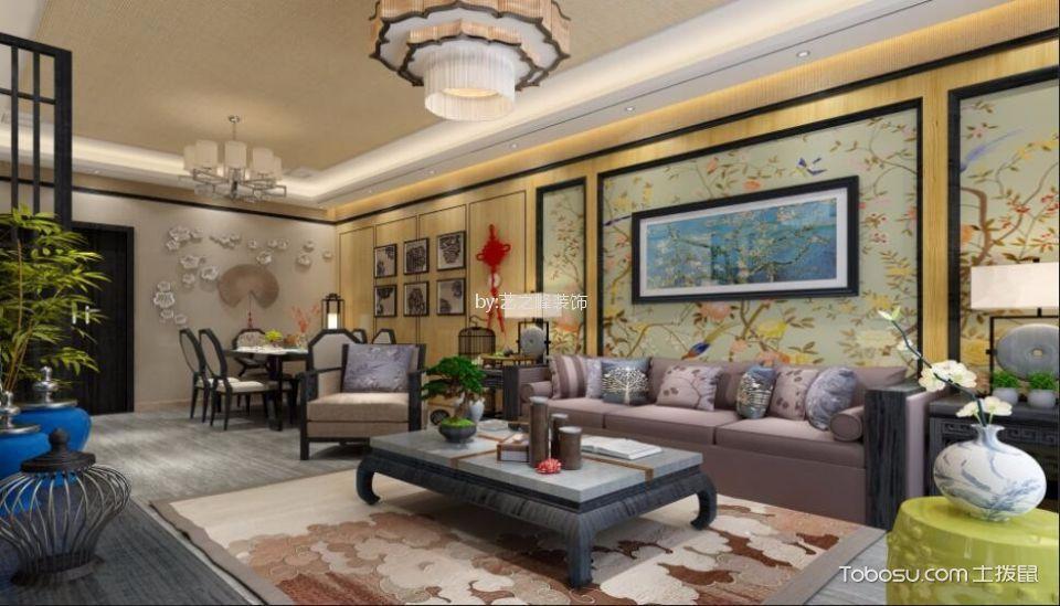 金泰华府120平米现代中式风格三居室装修效果图