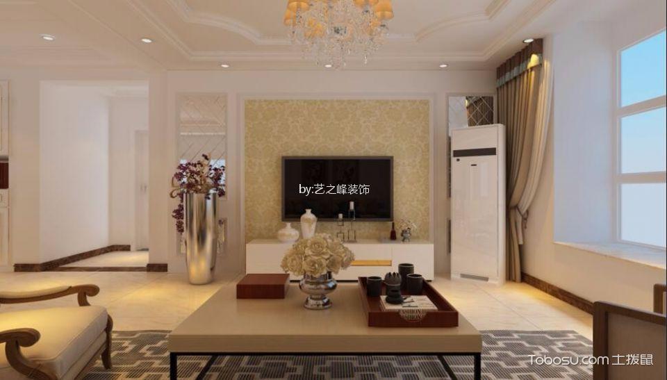客厅黄色简欧风格装潢效果图