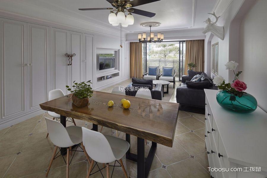 龙都国际105平美式风格三居室装修效果图
