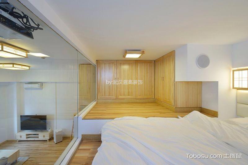 卧室白色榻榻米日式风格装潢效果图