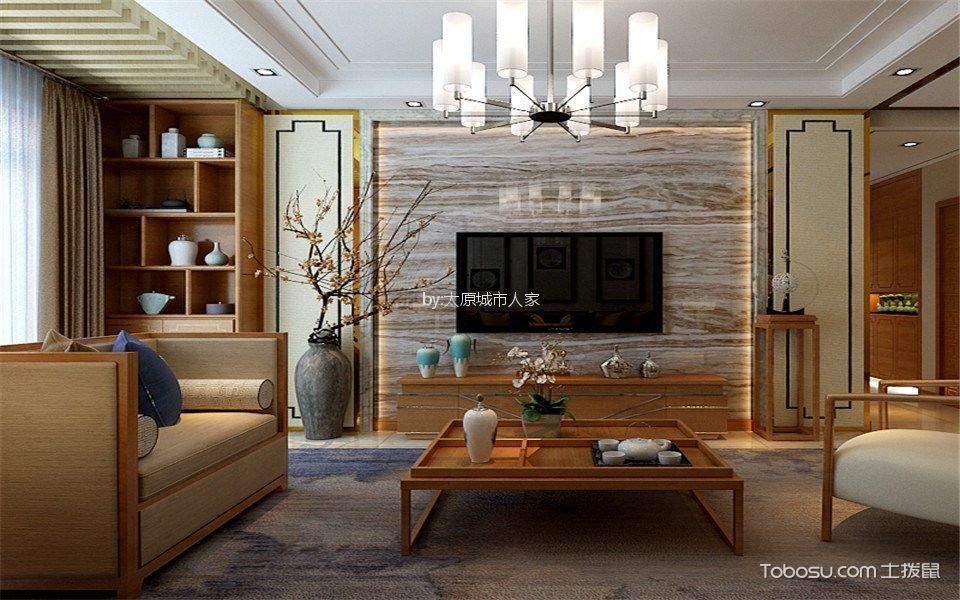 保利香槟115平米新中式设计风格装修案例