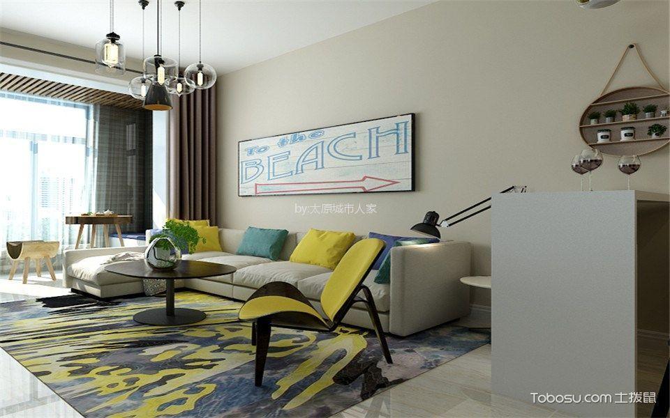 保利香槟90平米现代简约风格二居室装修效果图