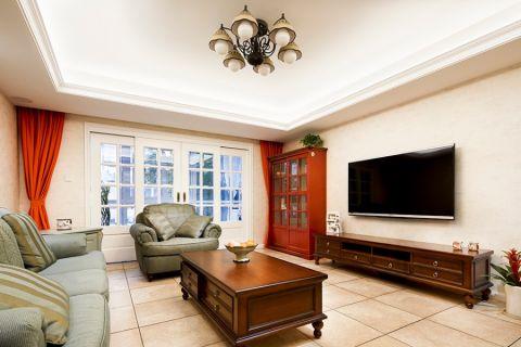 东晶国际128平米美式风格三居室装修效果图