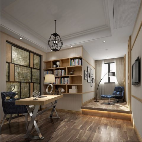 书房白色博古架混搭风格装修设计图片