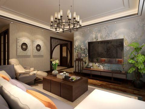 鼎正大都城120平新中式风格三居室装修效果图