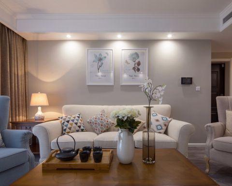 保利花园107平三室两厅美式风格效果图