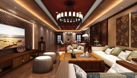 客厅电视柜东南亚风格装修设计图片