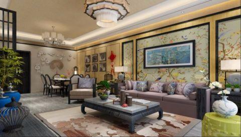 2019现代中式120平米装修效果图片 2019现代中式三居室装修设计图片