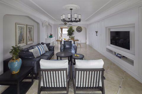 客厅白色细节美式风格装修设计图片