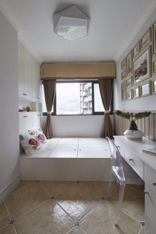 卧室白色榻榻米美式风格装潢设计图片