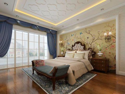 卧室推拉门简欧风格装潢效果图
