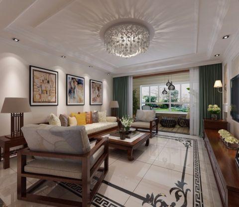 现代中式三居室装修效果图