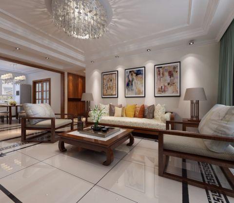 客厅吊顶现代中式风格装饰效果图