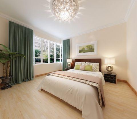 卧室绿色窗帘现代中式风格装饰图片