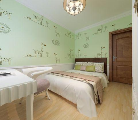儿童房绿色背景墙现代中式风格装饰设计图片