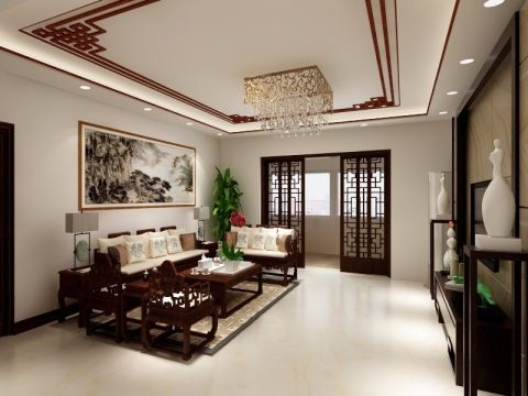 客厅咖啡色背景墙中式风格装潢效果图