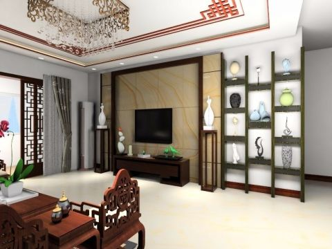 客厅咖啡色背景墙中式风格装饰图片