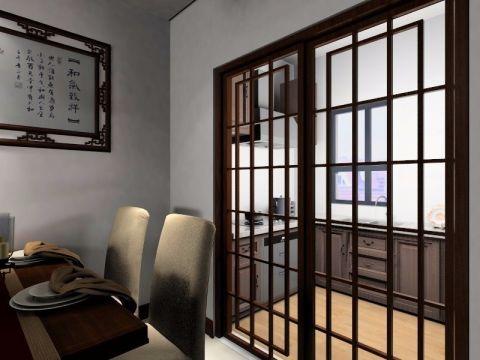 厨房咖啡色推拉门中式风格装潢图片