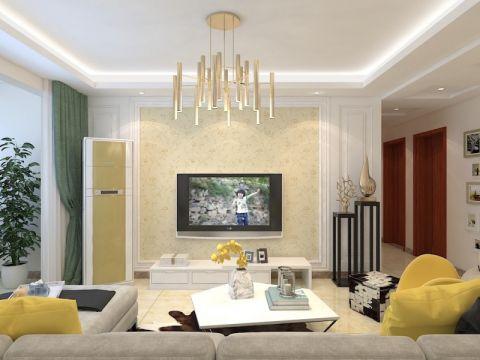 绿地新里香榭丽公馆114平三居室现代简约装修效果图