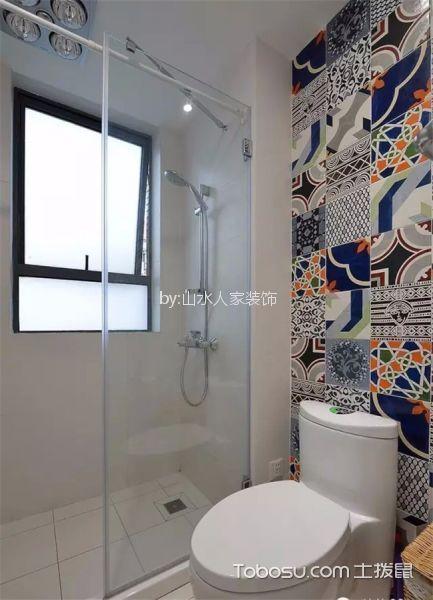 卫生间彩色背景墙美式风格装修设计图片