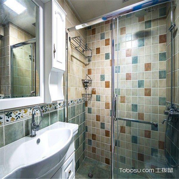 卫生间彩色隔断混搭风格装潢图片