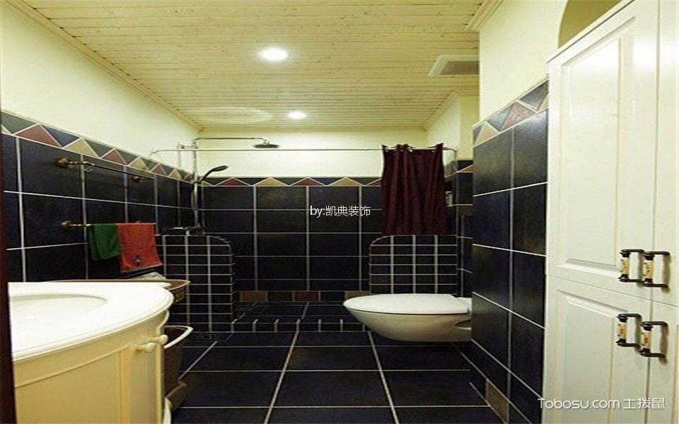 卫生间黑色背景墙美式风格效果图