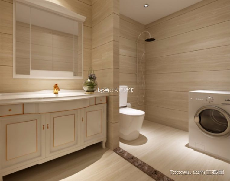 卫生间米色隔断简欧风格装修设计图片