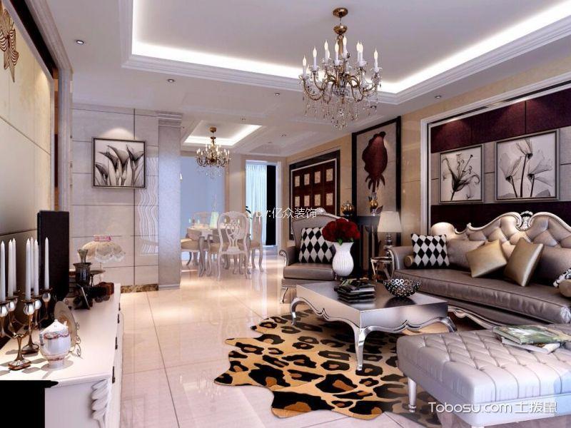110平简欧风格三居室装修效果图