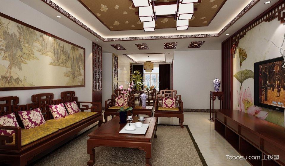 中铁中式风格三居室装修效果图