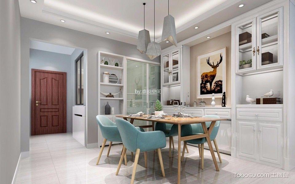 简欧风格98平米三室两厅新房装修效果图