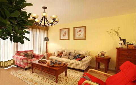 七彩星城幸福里43平米美式风格两室一厅一卫装修小骨头