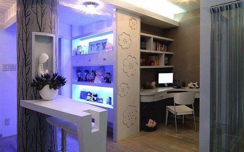 书房白色吧台现代简约风格装潢图片