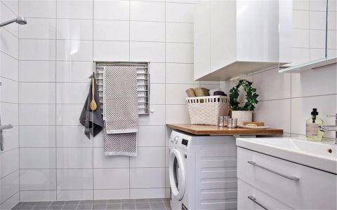 卫生间白色洗漱台现代风格装潢效果图