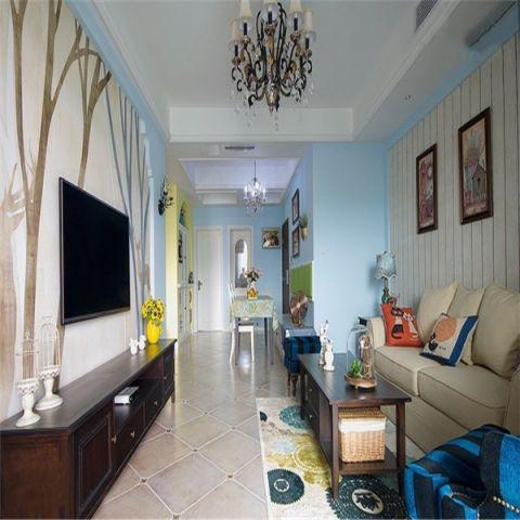 客厅蓝色背景墙混搭风格装饰效果图