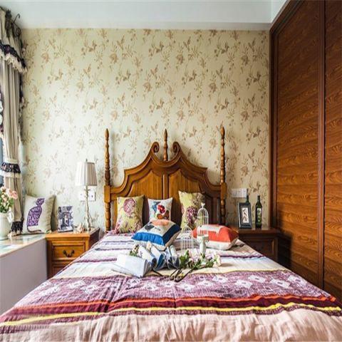 卧室粉色背景墙混搭风格装饰图片