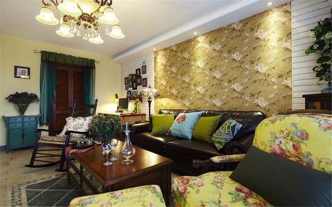 客厅彩色背景墙美式风格装修设计图片