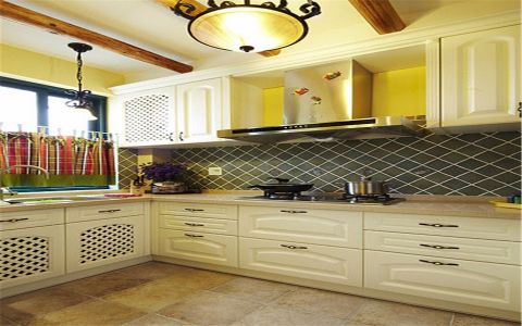 厨房米色吊顶美式风格装饰设计图片