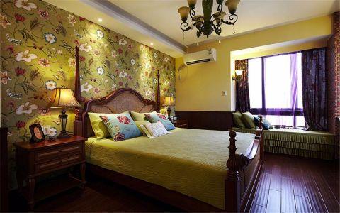 卧室彩色背景墙美式风格装潢设计图片