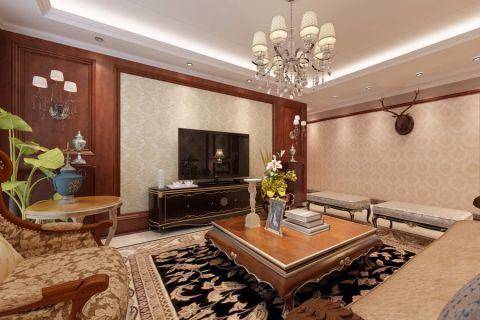 客厅黑色电视柜中式风格装修图片