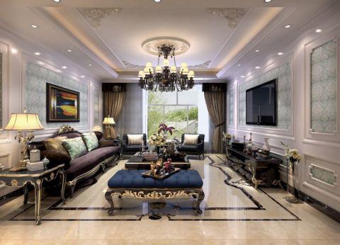 美式风格180平米三室两厅新房装修效果图