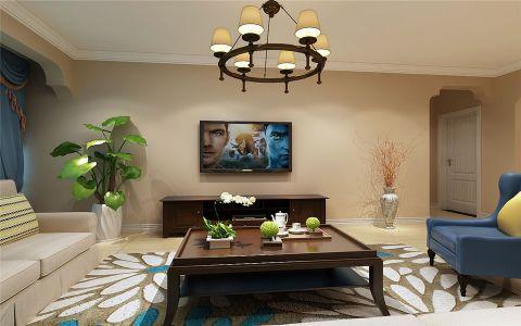 客厅茶几美式风格装饰图片
