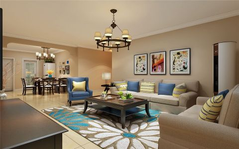 客厅咖啡色吊顶美式风格装潢图片