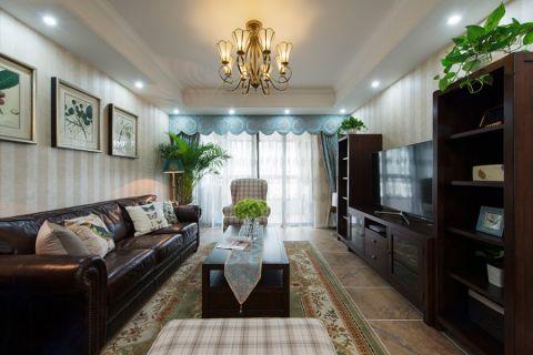 美式风格135平米三室两厅新房装修效果图